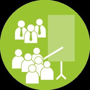Schritt 6:: <br>Ergebnis-Präsentation: Die Ergebnisse werden den Entscheider/-innen im Unternehmen durch das BGM Bilanz Team präsentiert und damit zur Entscheidung vorgelegt.